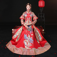 New Lady China Traditional Dress Wedding Qipao Red Cheongsam Embroidery Bride Chinese Style Dress Wholesale Size XS-3XL