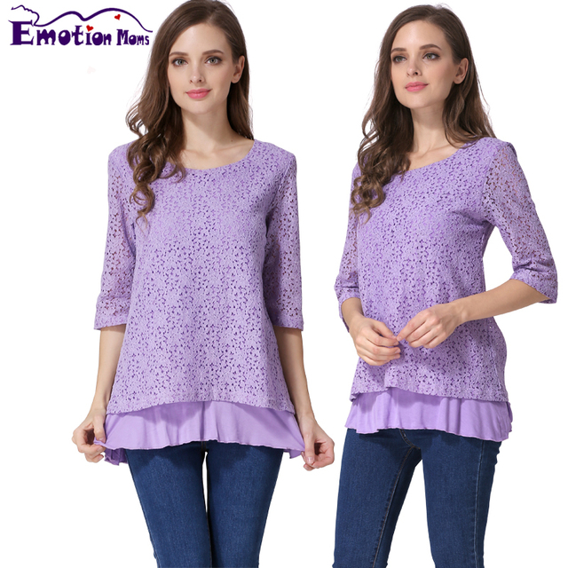 Emotion Moms New 3/4 Sleeve Lace Maternity Clothes Nursing top pregnancy Breastfeeding tops for Pregnant Women Maternity T-shirt