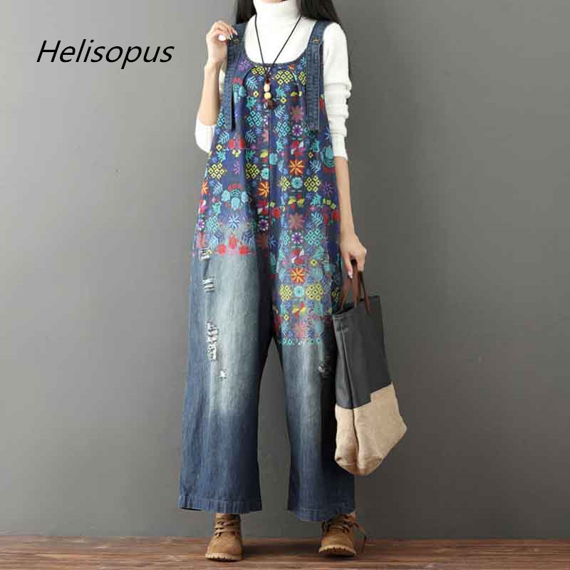 Helisopus New Retro Printed Holes Ripped Jean   Jumpsuit   Plus Size Wide Legs Overalls For Women Denim Drop Crotch Rompers Female