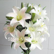 5pcs 1pc 3flower 2buds Real Touch High Artificial Lily Pvc Flowers Fake Home