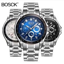 Top Brand Men Watch Bosck Stainless Steel Quartz Watch Busniess Male Clock Calendar Casual Men's Wristwatch Full Steel Reloj