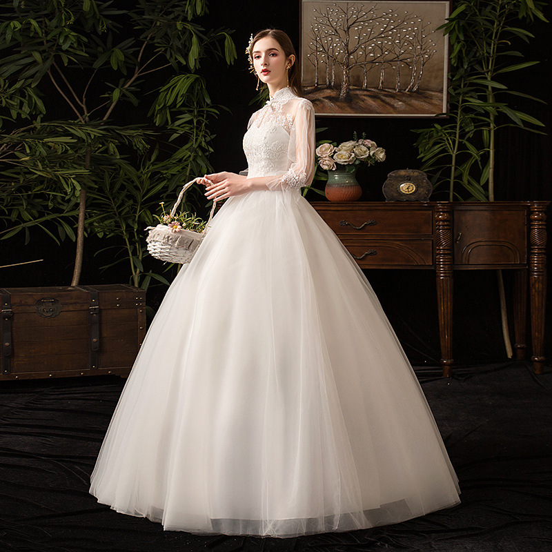 Image 3 - 2019 New High Neck Three Quarter Sleeve Wedding Dress Sexy Illusion Lace Applique Plus Size Vintage Bridal Gown Robe De Mariee L-in Wedding Dresses from Weddings & Events