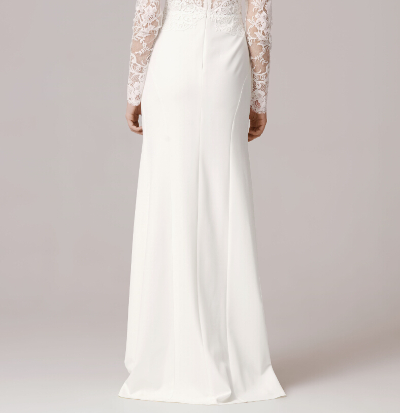 Vintage fw1243 long sleeve lace applique sexy o neck white slim vintage fw1243 long sleeve lace applique sexy o neck white slim women sheath wedding dress customized robe de mariage in wedding dresses from weddings junglespirit Images