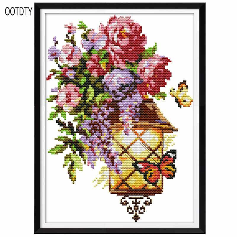 Flor Mariposa luz DIY hecho a mano bordado cuenta 14CT impreso punto de cruz Kit de bordado conjunto decoración del hogar