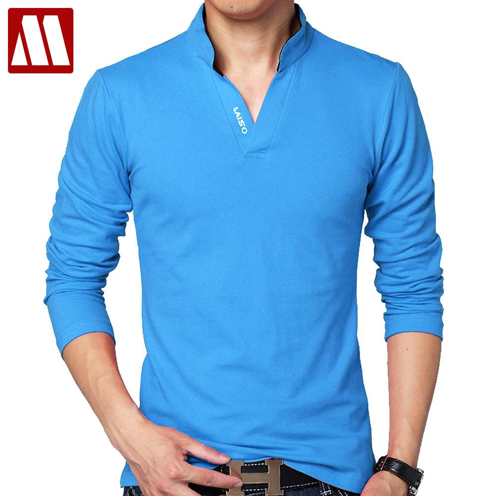 Vente chaude Nouveau 2018 Marque De Mode Hommes polo chemise Solide Couleur À Manches Longues Slim Fit Shirt Hommes Coton polo Chemises Casual Chemises 5XL