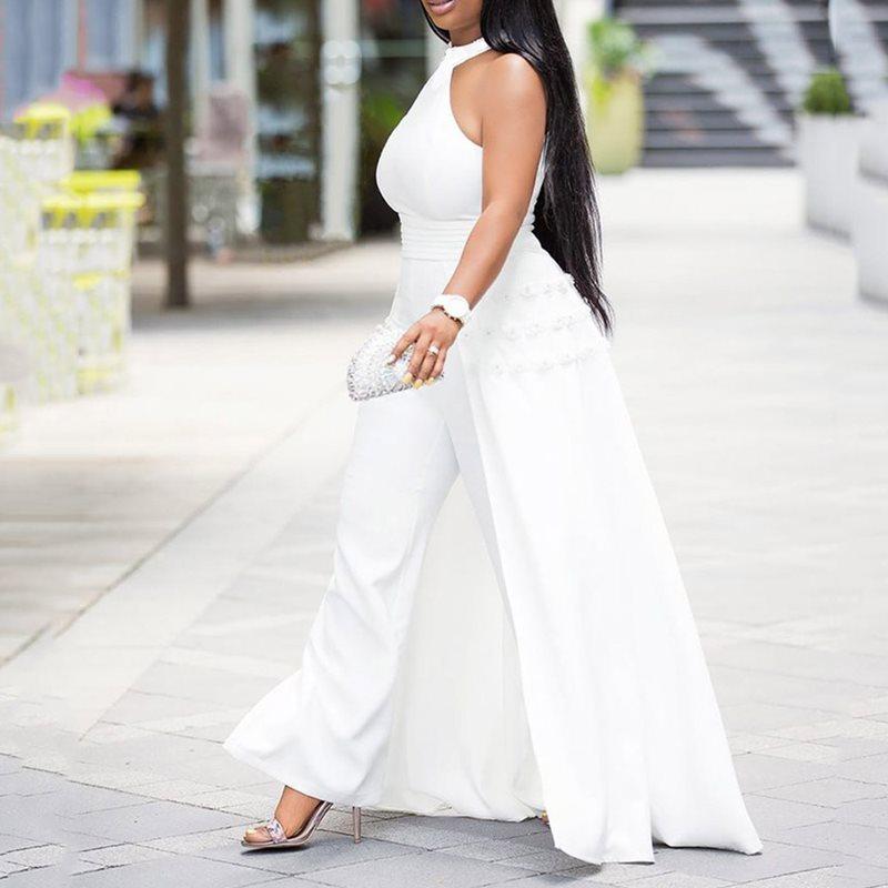 New Off Shoulder Sexy Jumpsuit White Women Elegant Halter Formal Party Fashion Swallowtail Slim Ladies Summer Wide Leg Jumpsuits