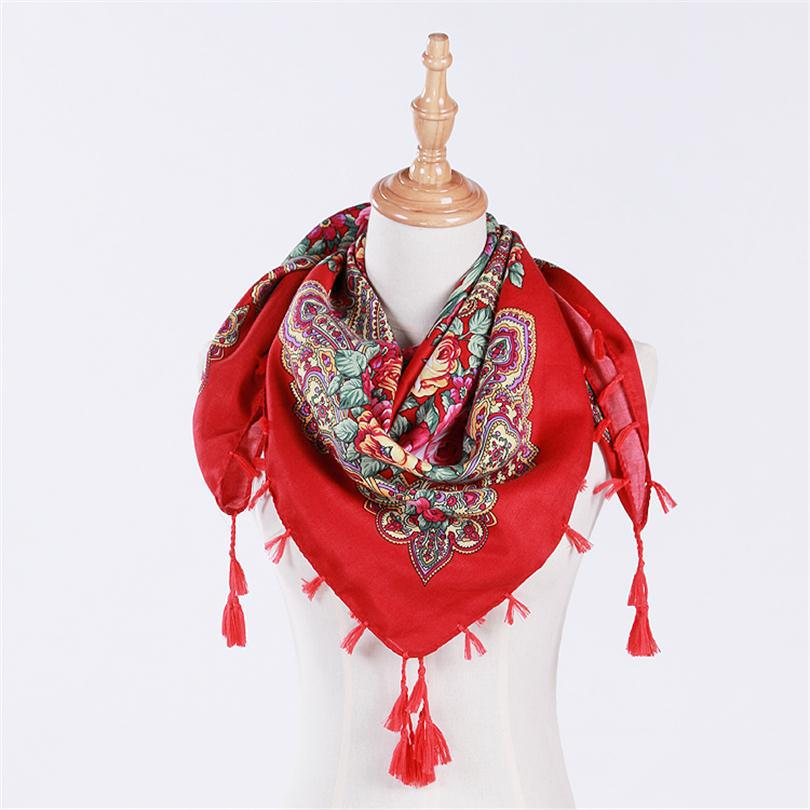 2018 New Fashion Russian National Pattern Winter Ladies   Scarf   Warm   Scarf     Wrap   Soft Hair Ladies Shawl Triangle   Scarf   Blanket