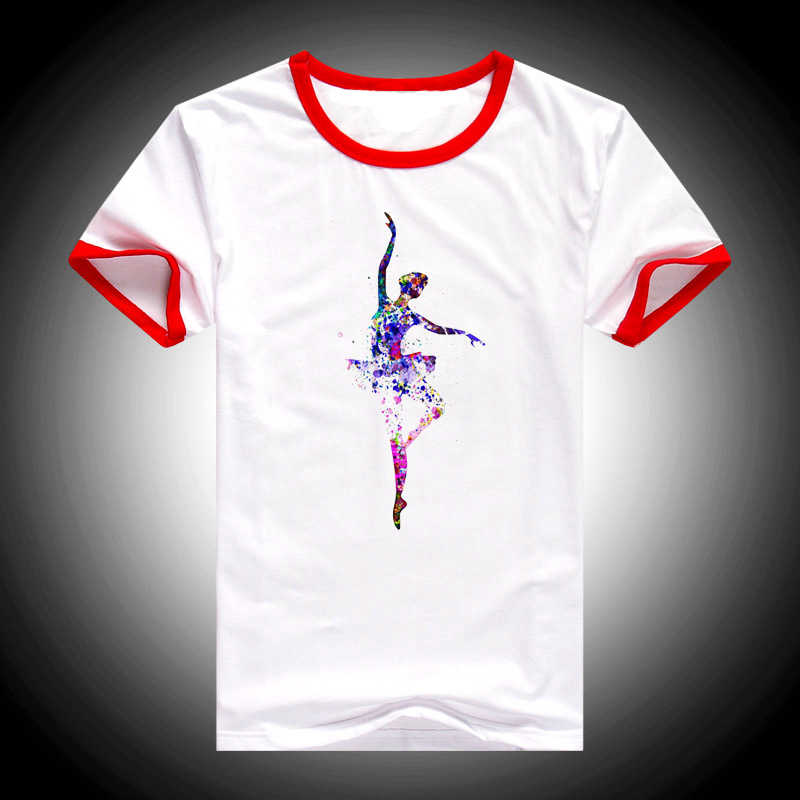 Vogue Acquerello Balletto Arte t delle donne della camicia harajuku kawaii Ballerina stampato maglietta femme 90 s carino camicia bianca supera il trasporto di goccia trasporto libero