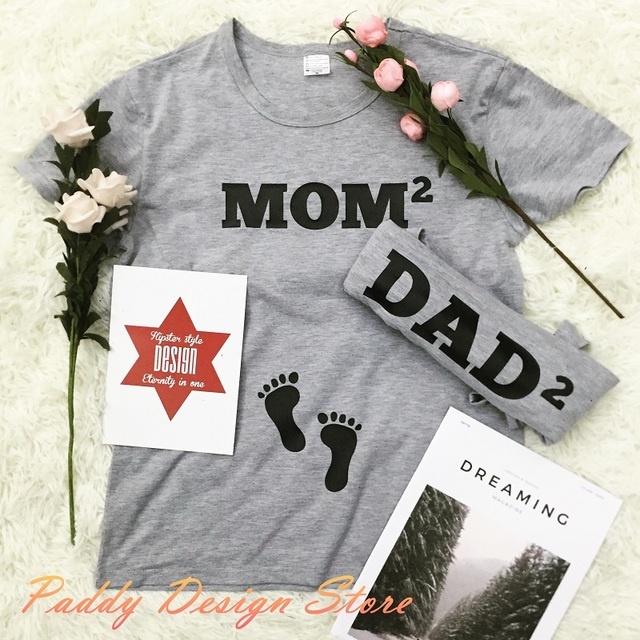 OKOUFEN mom dad baby couple Pregnancy Announcement Friends tshirt fashion  tumblr women mens casual family tee 725841a53b2e
