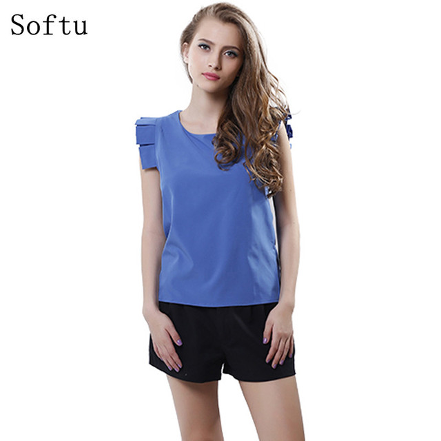 Softu Fashion Women Summer Blouse O-Neck Butterfly Sleeve Solid Shirt  Elegant Leisure Chiffon Blouses