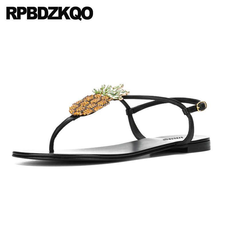 eb9da944416cdf Pineapple Strappy Sandals Slingback Rhinestone T Strap Black Thong Diamond  Designer Ladies Women Flat Summer 2018