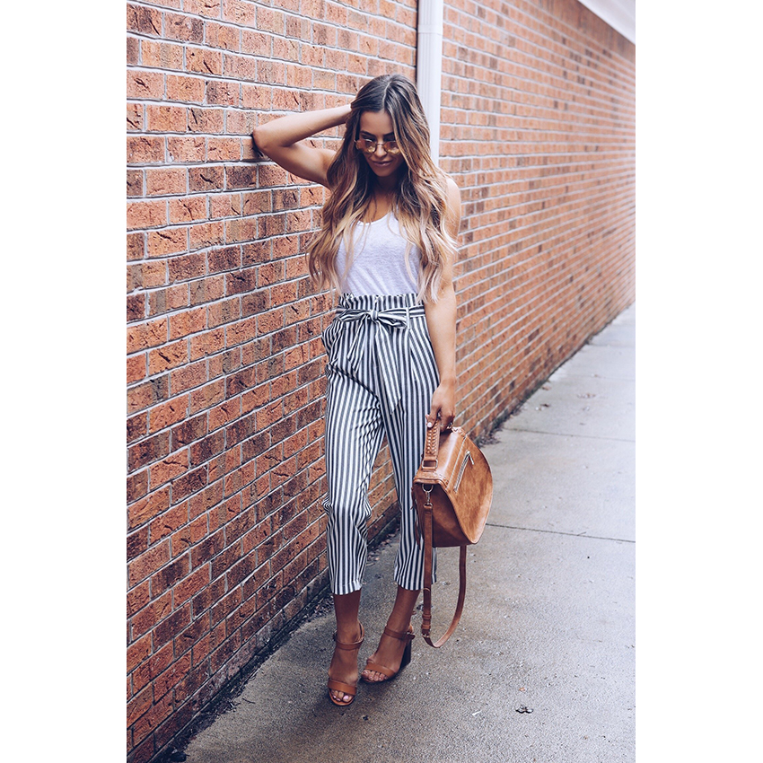 HTB11emqgbSYBuNjSspfq6AZCpXa1 - 2018 OL chiffon striped  high waist harem pants Women stringyselvedge summer style casual pants female trousers