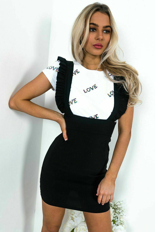 UK Womens Bodycon Check Dog Tooth Frill Pinafore Ruffle Dress Bodycon Mini 8-14