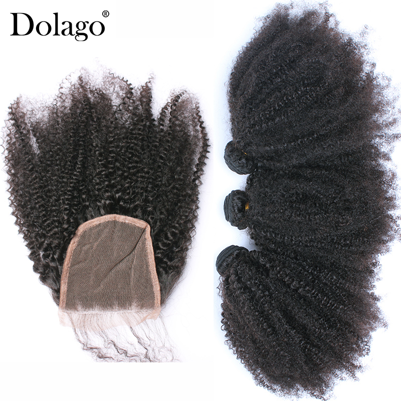 Mongolian Afro Kinky Curly Hair With Closure 4 Pcs 3 Dolago Hair Products Bundles With Closure