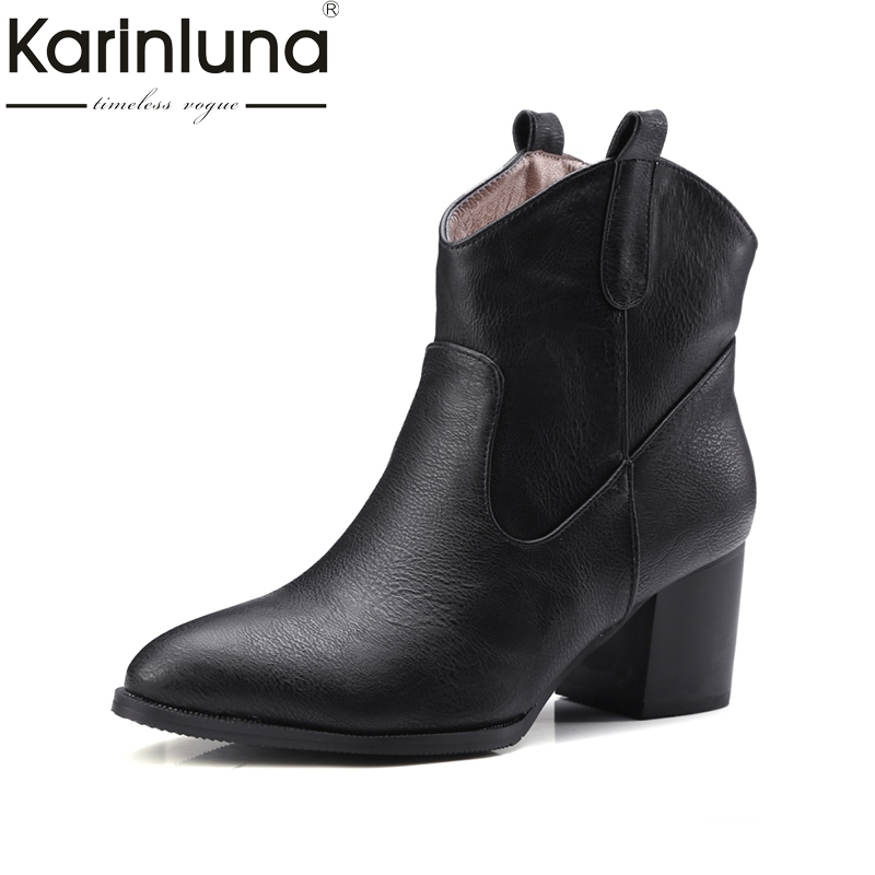 Karinluna 2017 Spring And Autumn Fashion Pointed Toe Slip-On Ankle Boots Mature High Square Heel Women Shoes Plus Size 32-47 2017 solid black winter spring women shoes slip on pointed toe spike high heels ankle boots women free ship size 9 12
