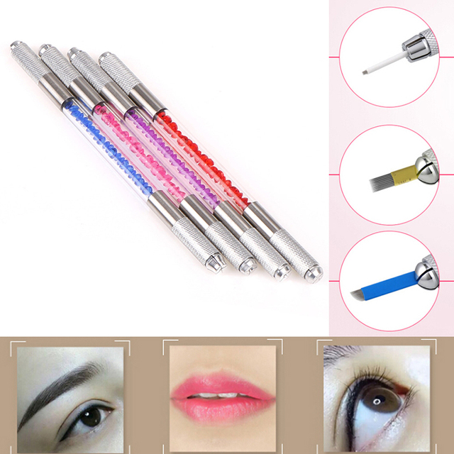 Permanent Makeup Tattoo Pen Manual Tebori Tattoo Machine For Permanent Makeup 3D Eyebrow Tattoo Microblading Double-headed 4