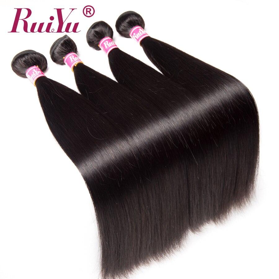 RUIYU Peruvian Straight Hair Bundles 100% Human Hair 4 Bundles Non Remy Hair Extensions Double Weft Natural Color Hair Weave