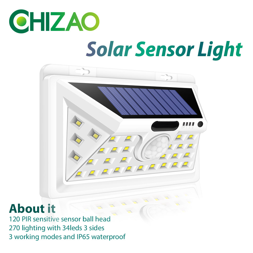 CHIZAO 34 LED Solar Sensor Light White Waterproof Night Light Outdoor Garden Emergency Light 3 Model PIR Sensor Easy Install