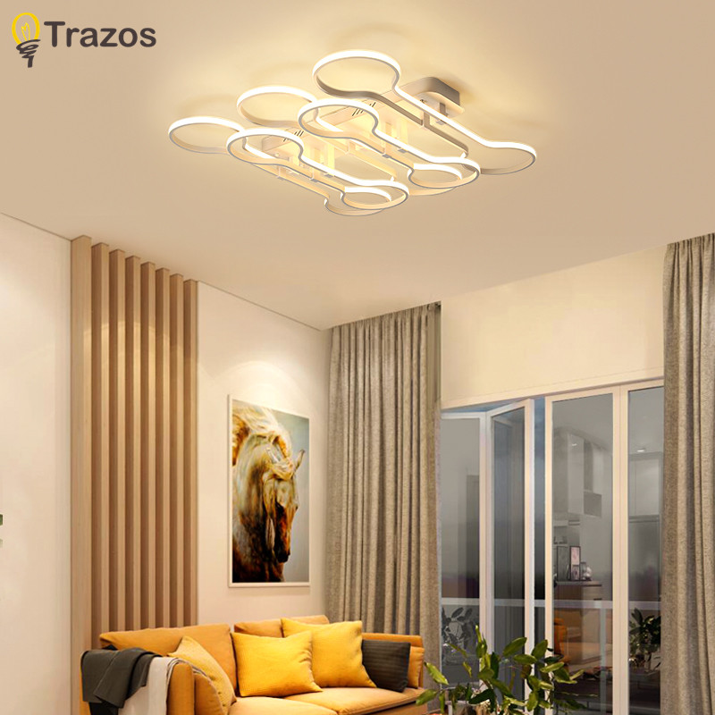 TRAZOS Modern Led Ceiling Lights For Living Room Study Room lamparas de techo Modern Led Ceiling Lamp Luminaire lights for home 38w modern led ceiling lights for living room acrylic stainless ceiling lamp lustre lamparas de techo bar home lighting
