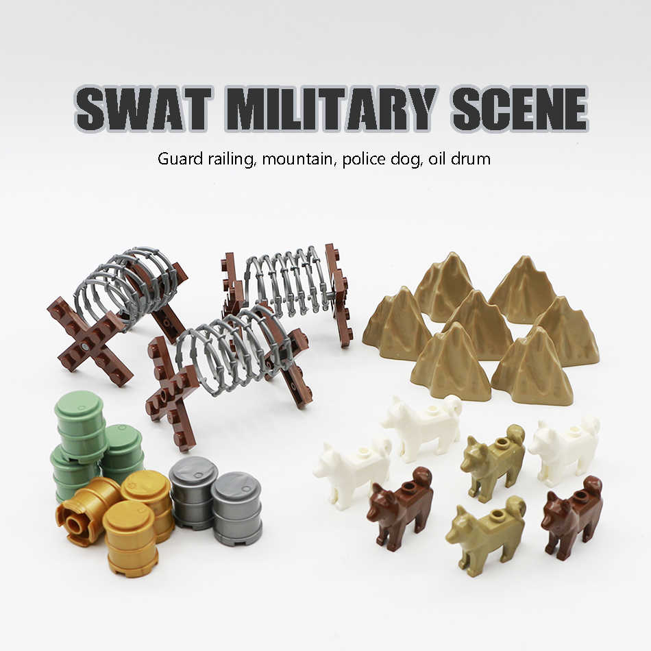WW2 Military Fence Building Blocks Wall City Police Dog Hill Iron Fence Oil Drum Army Soldier Accessories Legoed MOC Bricks Toy