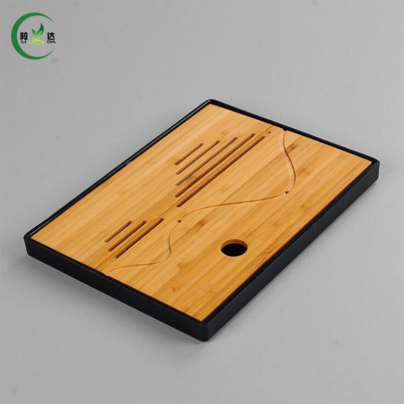25 19 2cm Retangle Bamboo Tray High Quality Plastic Pot Teaset Trivet Teaset Tray Tea Set