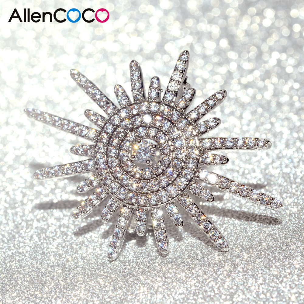 Luxury Cubic Zirconia Sun Shape Brooch Pin White Gold Color Copper Brooches  For Women Wedding Jewelry Wholesale From Reliable Brooches For Women  Suppliers ...