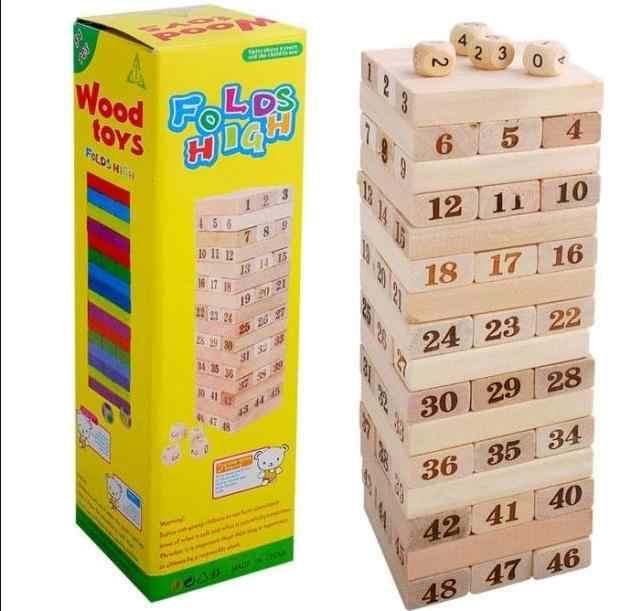 Дети деревянные 48 шт конструктор домино слой на слоях игрушки, большие цифровые домино настольные игры, детские развивающие игрушки