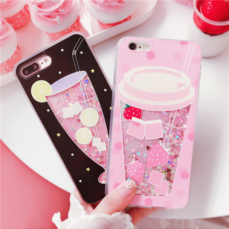 Fashion Cute Drink Bottle Ice Cream Glitter Star Dynamic Liquid Quicksand <font><b>Phone</b></font> <font><b>Case</b></font> For <font><b>iPhone</b></font> 5 5S <font><b>5SE</b></font> 6 6S 7 8 Plus X <font><b>Cases</b></font> image