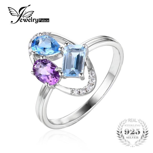 JewelryPalace 925 Sterling Silver 0.9ct Natural Amethyst 3 Stone Anniversary Ring Size L ICeD7EbN
