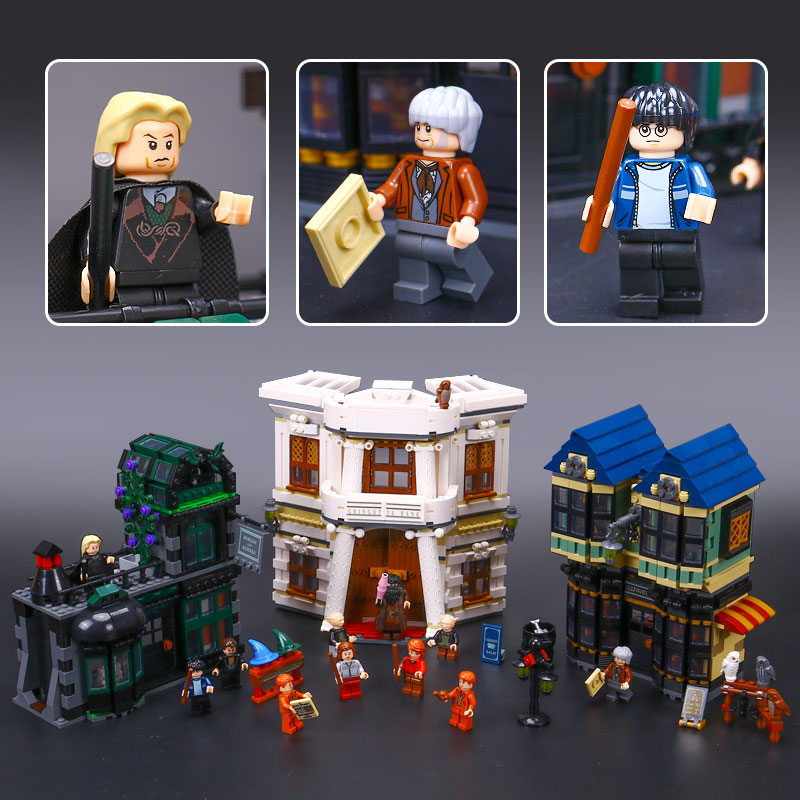 In stock Lepin 16012 DHL Movie Series legoing 10217 Diagon Alley Model Building Bricks Blocks Toys For Kids Christmas Boys Gifts doinbby store  16012 2075pcs movie