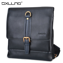 Brand Sxllns Genuine Leather Handbag Men Shoulder Bag Business Casual Cowhide Crossbody Bag Briefcases Men's Messenger Bag