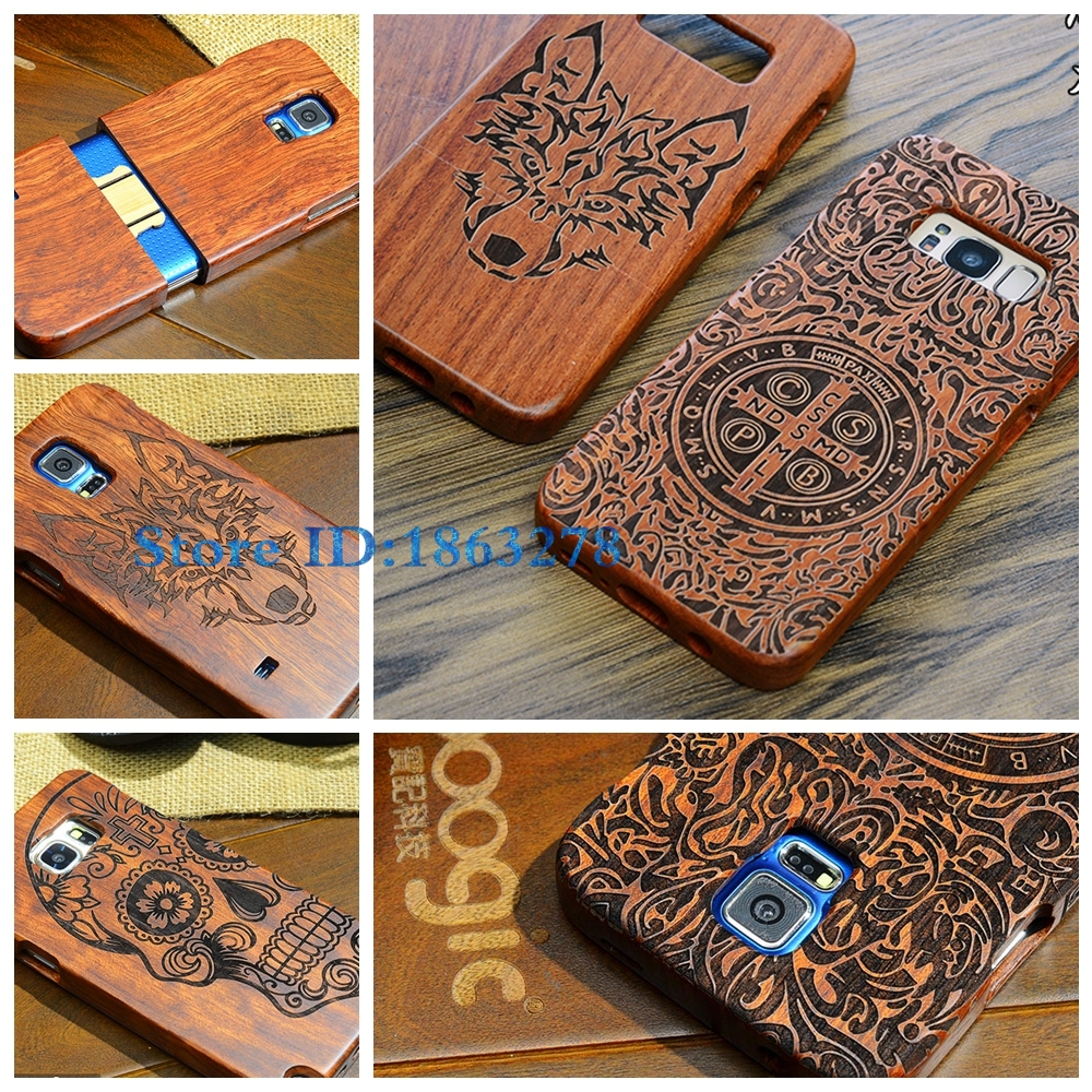 HOT! Wood Phone Case For Samsung Galaxy S5 S6 S7 S8 Indian Totem Anchor Cross Piate Wolf Wooden Coque For S5 S6 Edge S7 S8 Plus