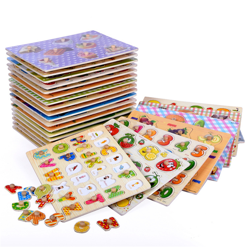 30cm Kid Early Educational Toys Baby Hand Grasp Wooden Puzzle Toy Alphabet Digit Learning Wood Jigsaw Christmas Gift
