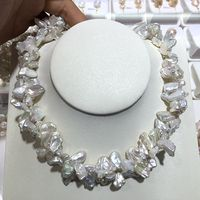 reborn keshi pearl jewelry two piece twisted Good Quality gloss and Flawless freshwater pearl fine statement necklace Special