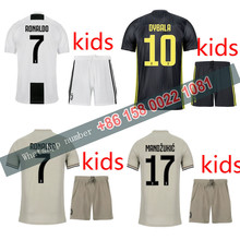 3d47e2fef8f 2018 2019 Juventuses kids kits 18 19 Home Away third football Thai AAA+ shirt  dybala mandzukic ronaldo Soccer jersey