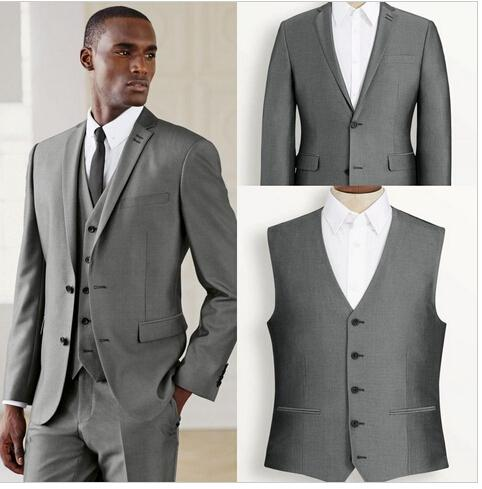 Gray blazer 2016 New Arrivals Groom Tuxedos Men Suits Slim Fit Tuxedo Denim Jacket Wedding Prom Man Suit 3 Pieces Tailor Made