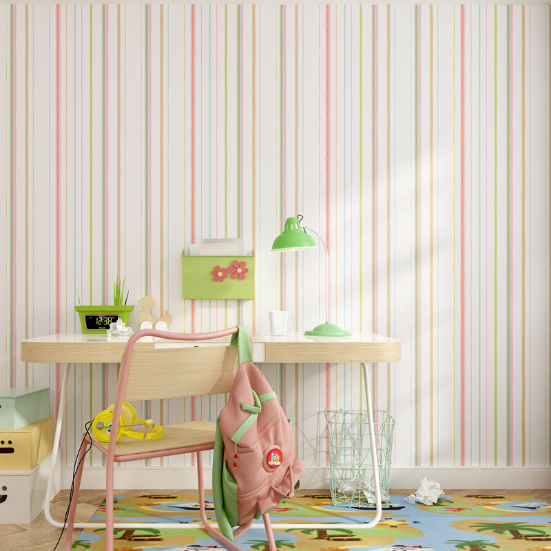 High Quality  Fresh Green Pink Stripes Wallpaper For Children Bedroom Living Room Wall Papers Home Decor Mediterranean stripesHigh Quality  Fresh Green Pink Stripes Wallpaper For Children Bedroom Living Room Wall Papers Home Decor Mediterranean stripes
