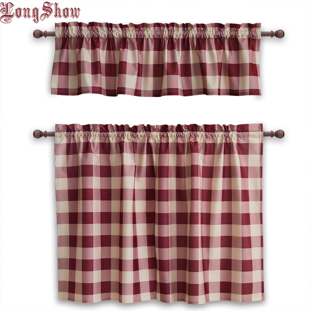 Home Decorative Modern Pink Navy Black Colour Plaid Rod Pocket Thick Smooth Plushed Kitchen Window Door Valance Curtains