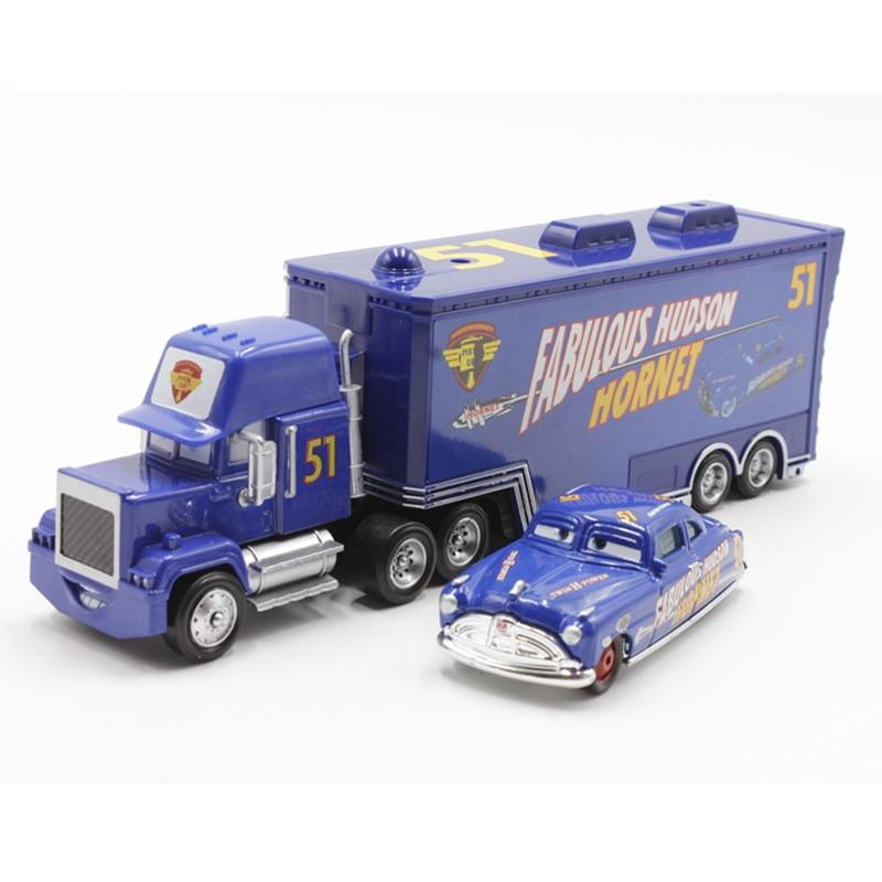 Disney Pixar Cars No.51 Mack Truck + Small Car Fabulous Hudson Hornet Diecast Metal Alloy And Plastic Modle Toy Car For Children