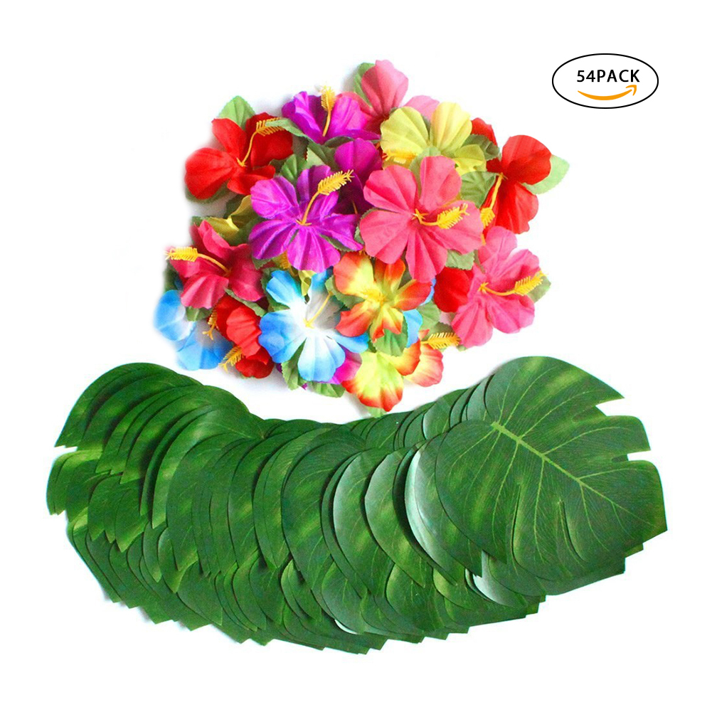 30pcs Artificial Tropical Palm Leaves&24pcs Hibiscus Flower Hawaiian Jungle Beach Theme Family Garden Wedding Party Table Decor