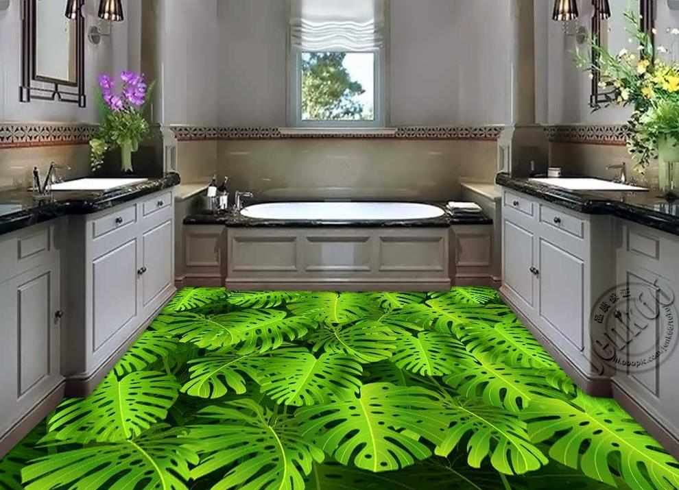 ФОТО 3d wallpaper waterproof Home Decoration 3D fashion floor green banana leaves pvc self-adhesive wallpaper