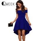 Save 21.99 on European Fashion Elegant Dress Women Off Shoulder Tunic Sexy Dresses Irregular Pleated Short Sleeve Short Mini Blue Dress