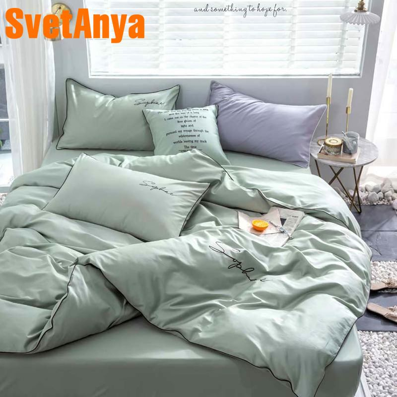 Svetanya Egyptian Cotton Bedding Set King Queen Double Size Flat Fitted Sheet Linens