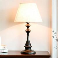 American Country Simple Black Iron Fabric Led E27 Table Lamp for Foyer Bedroom Study Illuminare Desk Light H 50cm 1788
