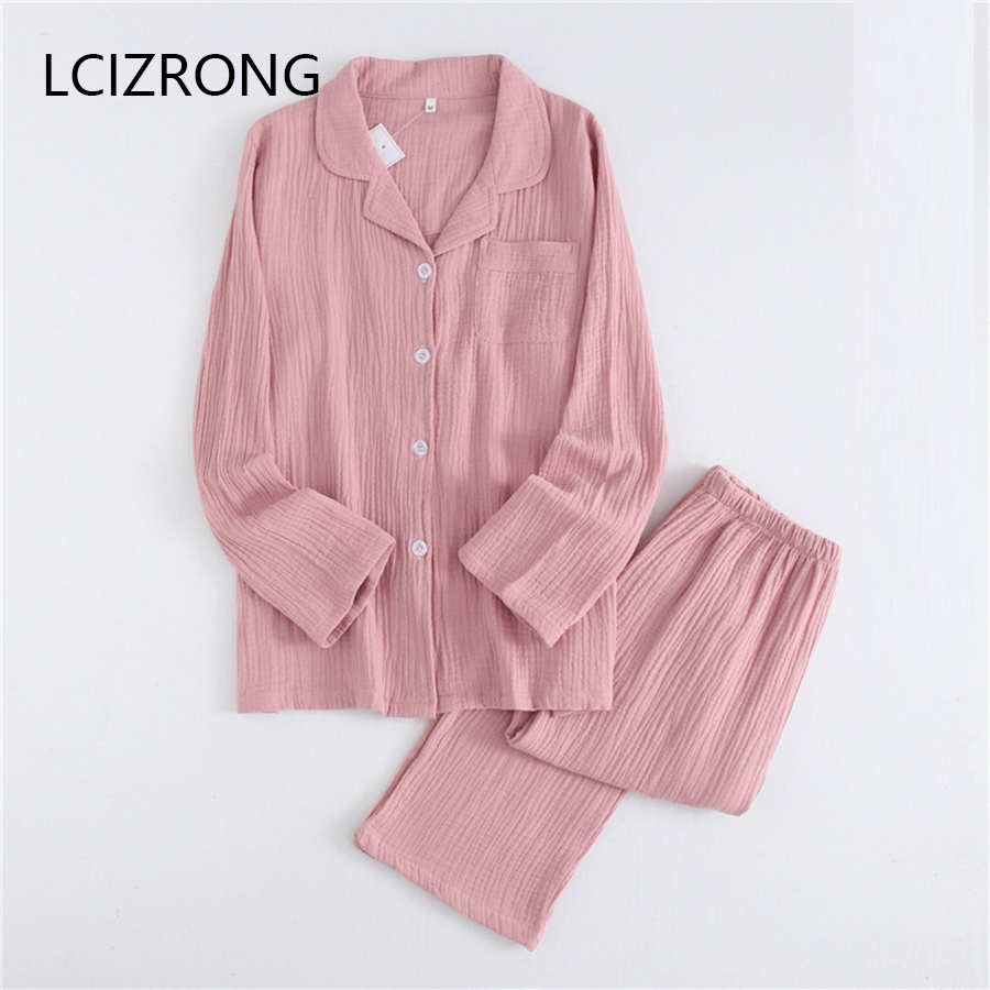 Spring Cotton Crepe Couple   Pajama     Set   Women Solid Plus Size Long Sleeve Cardigan Long Pant Home Suits Sleepwear Nightgown Female