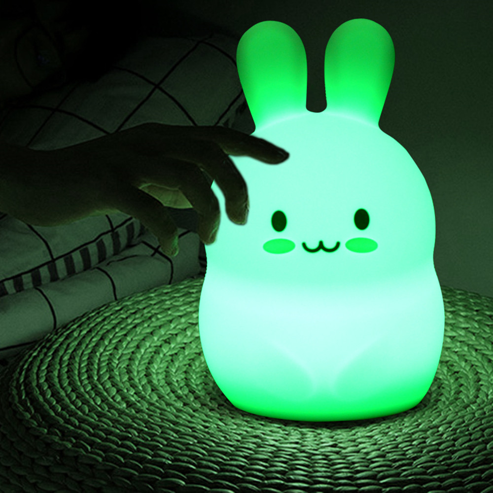 RGB LED Light Rabbit Night Light Touch Sensor Battery Powered Cartoon Silicone Bunny Bedroom Lamp For Children Kids Baby Gift