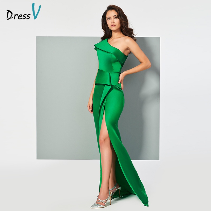 Dressv turquoise evening dress one shoulder mermaid elegant split-front floor-length wedding party formal dress evening dresses