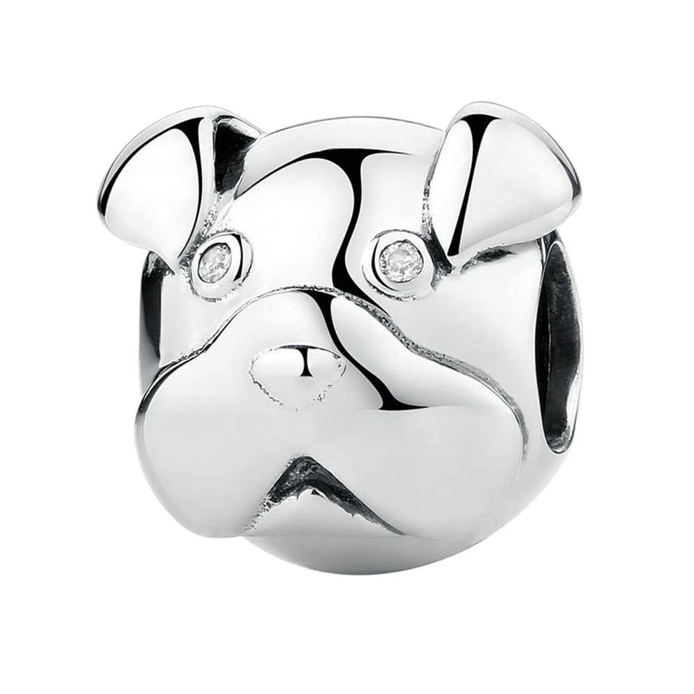 Original 925 Sterling Silver Lovely Cute Perky Pug Charms Fashion