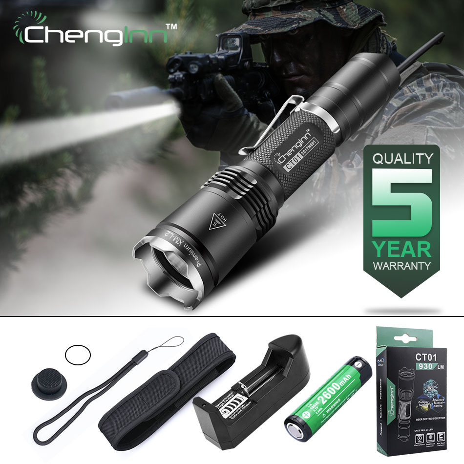 Chenglnn 6 Modes Self Defense Torch Tactical Flashlight CREE XM Led Strobe SOS Waterproof IPX8 Home standing For 18650 Ct01 cree q5 led pocket flashlight 120lm ipx 6 waterproof torch