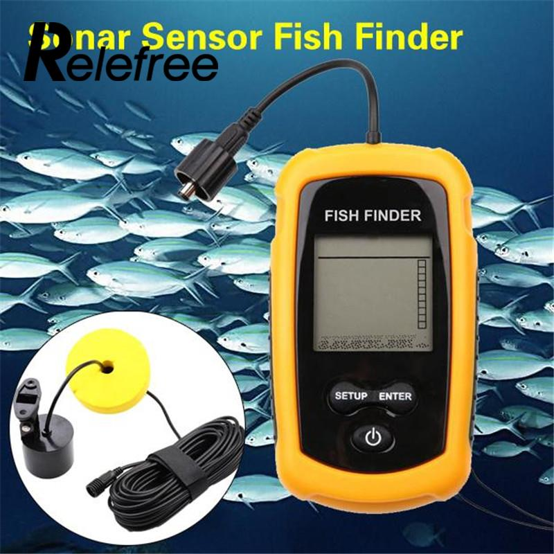 Relefree Fish Finders Alarm 100M Portable Sonar LCD Fishing Finder Lure Echo Sounder  Fishing LureOcean Lake Sea Fishing Tackle brand portable waterproof wire fish finder lcd monitor sonar sounder alarm fishfinder 2 feet to 328 feet echo fishing finder